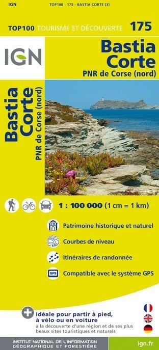 SV-175  Bastia/Corte (Corse Nord) 9782758527077  IGN Série Verte 1:100.000  Fietskaarten, Landkaarten en wegenkaarten Corsica