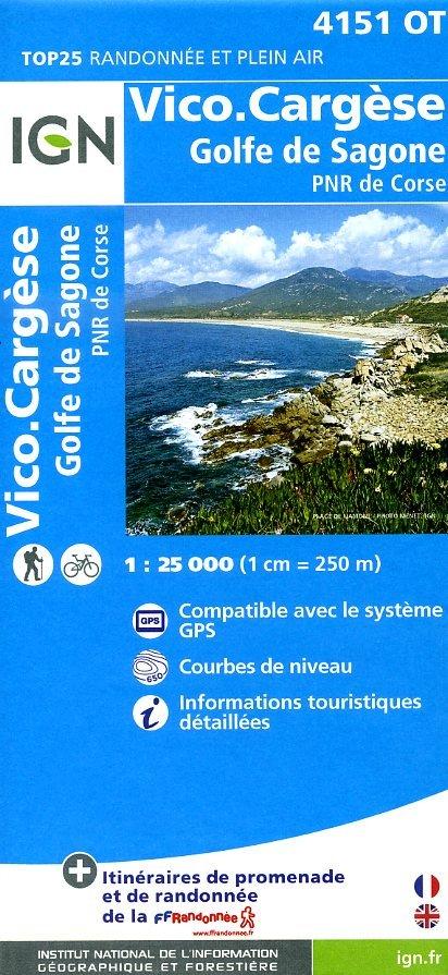 4151OT  Cargèse, Vico, Sari d Orcino | wandelkaart 1:25.000 9782758528135  IGN TOP 25  Wandelkaarten Corsica