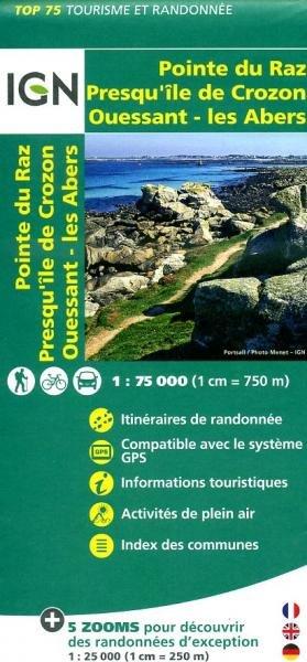 Ouessant, Les Abers, Crozon, Pointe du Raz | IGN overzichts- en wandelkaart 9782758529019  IGN TOP 75  Fietskaarten, Wandelkaarten Bretagne