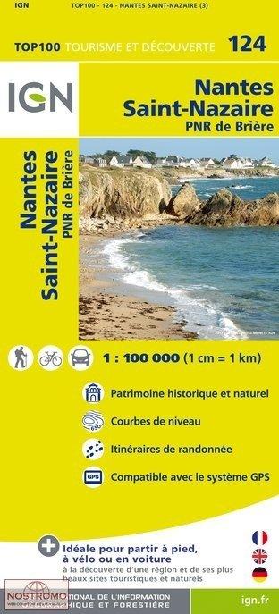 SV-124  Nantes, Saint-Nazaire 9782758530121  IGN Série Verte 1:100.000  Fietskaarten, Landkaarten en wegenkaarten Bretagne