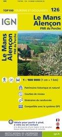 SV-126  Le Mans, Alençon | omgevingskaart / fietskaart 1:100.000 9782758530145  IGN Série Verte 1:100.000  Fietskaarten, Landkaarten en wegenkaarten Poitou, Tours, Orléans, Bourges