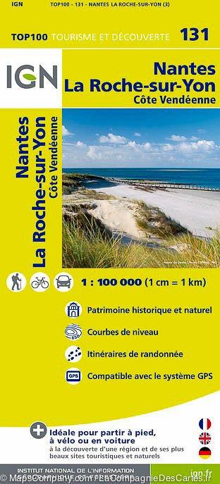 SV-131  Nantes, La Roche-sur-Yon | omgevingskaart / fietskaart 1:100.000 9782758530190  IGN Série Verte 1:100.000  Fietskaarten, Landkaarten en wegenkaarten Loire Atlantique, Charente, Vendée
