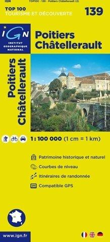 SV-139  Poitiers, Châtellerault   omgevingskaart / fietskaart 1:100.000 9782758530268  IGN Série Verte 1:100.000  Fietskaarten, Landkaarten en wegenkaarten Poitou, Tours, Orléans, Bourges