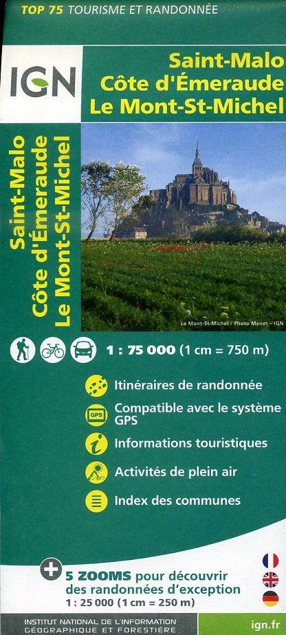 Saint-Malo, Côte d'Emeraude, Mt-Saint-Michel IGN 1:75.000 9782758531555  IGN TOP 75  Fietskaarten, Wandelkaarten Bretagne