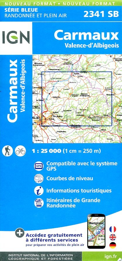 SB-2341SB Carmaux   | wandelkaart 1:25.000 9782758533306  IGN Serie Bleue (vernieuwd)  Wandelkaarten Dordogne, Lot, Tarn