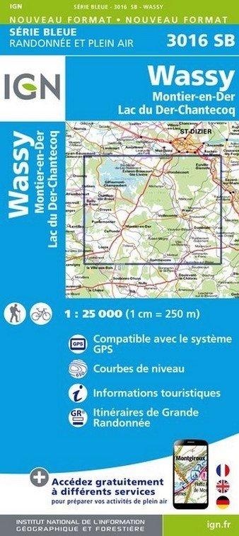 SB-3016SB  Wassy, Lac du Der-Chantecoq  | wandelkaart 1:25.000 9782758533351  IGN Serie Bleue (vernieuwd)  Wandelkaarten Champagne, Franse Ardennen