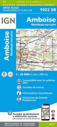 SB-1922SB Amboise/Montlouis-sur-Loire  | wandelkaart 1:25.000 9782758534037  IGN Serie Bleue (vernieuwd)  Wandelkaarten