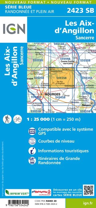 SB-2423SB  Les Aix d'Angillon, Sancerre  | wandelkaart 1:25.000 9782758534242  IGN Serie Bleue (vernieuwd)  Wandelkaarten