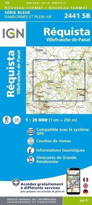 SB-2441SB  Réquista, Villefranche-de-Panat  | wandelkaart 1:25.000 9782758534297  IGN Serie Bleue (vernieuwd)  Wandelkaarten Cevennen, Lozère, Gard en Aveyron