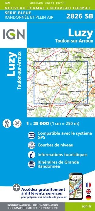 SB-2826SB Luzy  | wandelkaart 1:25.000 9782758534389  IGN Serie Bleue (vernieuwd)  Wandelkaarten Bourgogne