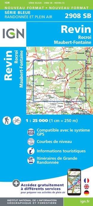 SB-2908SB  Revin, Rocroi, Maubert-Fontaine  | wandelkaart 1:25.000 9782758534396  IGN Serie Bleue (vernieuwd)  Wandelkaarten Champagne, Franse Ardennen