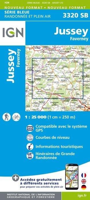 SB-3320SB Jussey - Faverney  | wandelkaart 1:25.000 9782758534457  IGN Serie Bleue (vernieuwd)  Wandelkaarten Lotharingen, Nancy, Metz