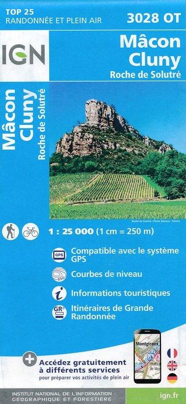 3028OT Mâcon, Cluny, Roche de Solutré | wandelkaart 1:25.000 9782758534976  IGN TOP 25  Wandelkaarten, Wijnreisgidsen Bourgogne, Morvan, Côte-d'Or