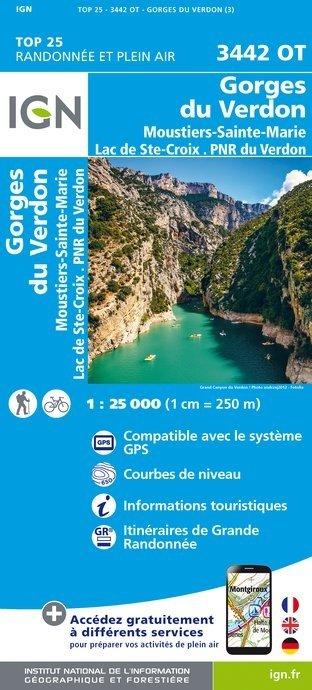 3442OT   Gorges du Verdon | wandelkaart 1:25.000 9782758535102  IGN TOP 25  Wandelkaarten tussen Valence, Briançon, Camargue en Nice