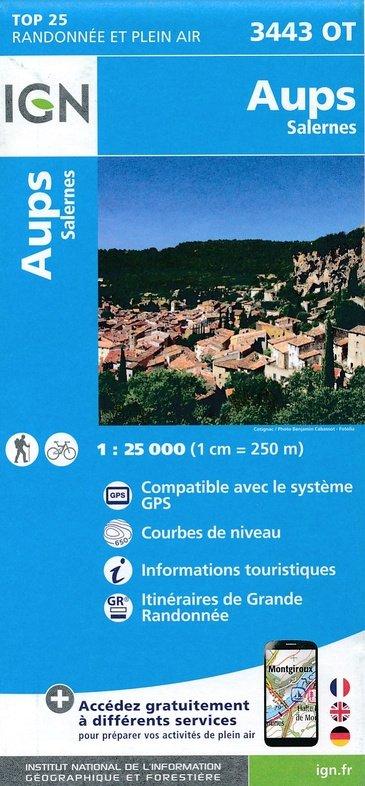 3443OT Aups, Salernes | wandelkaart 1:25.000 9782758535119  IGN TOP 25  Wandelkaarten tussen Valence, Briançon, Camargue en Nice