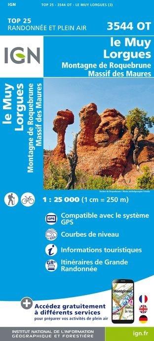 3544OT   Le Muy, Lorgues   wandelkaart 1:25.000 9782758535164  IGN TOP 25  Wandelkaarten Var, Côte d'Azur, Mercantour
