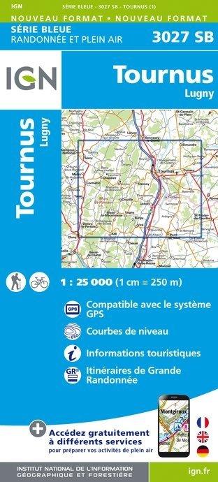 SB-3027SB Tournus, Lugny 1:25.000  | wandelkaart 1:25.000 9782758535652  IGN Serie Bleue (vernieuwd)  Wandelkaarten Bourgogne, Morvan, Côte-d'Or