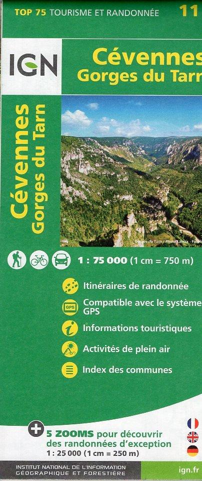 Cévennes (Cevennen) / Gorges du Tarn    IGN 1:75.000 9782758535829  IGN TOP 75  Fietskaarten, Wandelkaarten Cevennen, Lozère, Gard en Aveyron