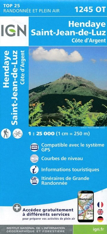 1245OT St-Jean-de-Luz, Hendaye | wandelkaart 1:25.000 9782758535874  IGN TOP 25 (1:25.000) Wandelkaarten Franse Pyreneeën  Wandelkaarten Baskenland