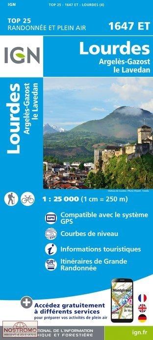 1647ET Lourdes,Argelès-Gazost, Arrens | wandelkaart 1:25.000 9782758535911  IGN TOP 25  Wandelkaarten Franse Pyreneeën, Toulouse, Gers, Garonne