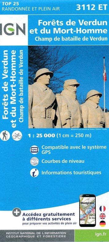 3112ET  omgeving Verdun | wandelkaart 1:25.000 9782758535942  IGN TOP 25 (1:25.000)  Wandelkaarten Champagne, Franse Ardennen