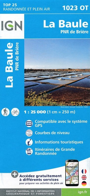 1023OT  Guérande, le Croisic   wandelkaart 1:25.000 9782758536116  IGN TOP 25  Wandelkaarten Bretagne