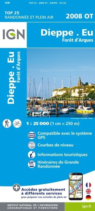 2008OT   Dieppe, le Tréport | wandelkaart 1:25.000 9782758536123  IGN TOP 25 (1:25.000)  Wandelkaarten Normandië