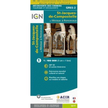 St-Jacques-de-Compostelle: van Moissac naar Roncevaux 9782758536338  IGN   Wandelkaarten Frankrijk
