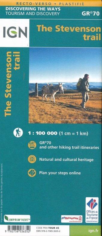 Chemin de Stevenson GR-70 1:100.000 9782758536352  IGN   Meerdaagse wandelroutes, Wandelkaarten Cevennen, Lozère, Gard en Aveyron