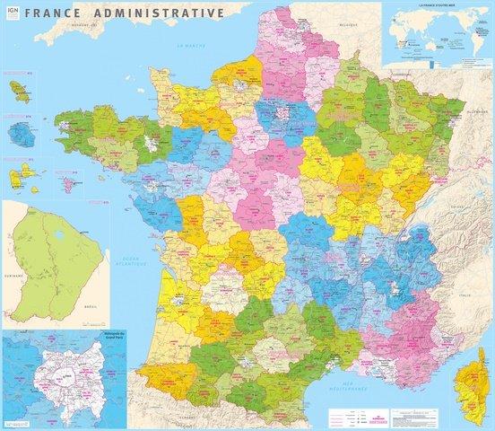 France administrative 1:1.000.000 9782758536727  IGN   Wandkaarten Frankrijk