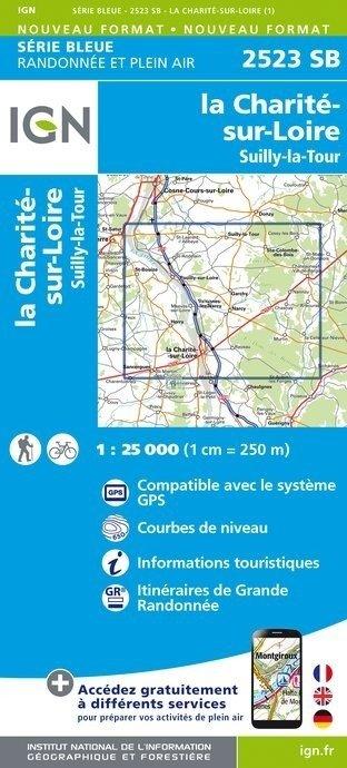 SB-2523SB La Charité-sur-Loire, Suilly la Tour, Pouilly-sur-Loire 9782758537236  IGN Serie Bleue (vernieuwd)  Wandelkaarten, Wijnreisgidsen Bourgogne, Morvan, Côte-d'Or, Loire Atlantique, Charente, Poitou, Vendée, Tours, Orléans, Bourges
