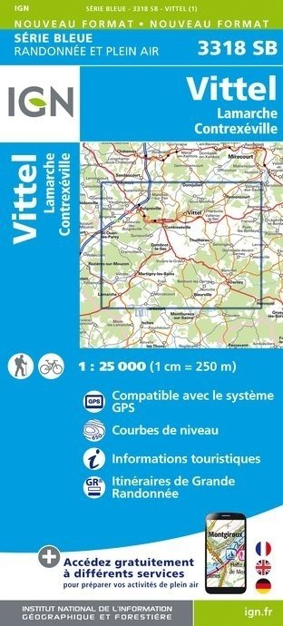 SB-3318SB Vittel, Lamarche, Contrexéville  | wandelkaart 1:25.000 9782758537465  IGN Serie Bleue (vernieuwd)  Wandelkaarten Lotharingen, Nancy, Metz