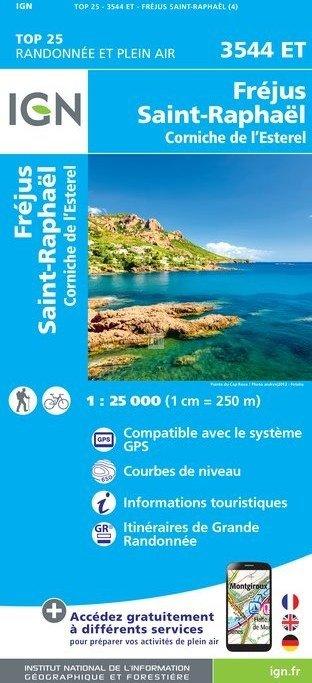 3544ET   Fréjus, Saint-Raphaël | wandelkaart 1:25.000 9782758538745  IGN TOP 25 (1:25.000) Wandelkaarten Côte-d'Azur  Wandelkaarten tussen Valence, Briançon, Camargue en Nice