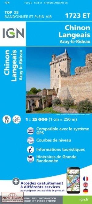 1723ET Chinon, Langeais, Azay-le-Rideau | wandelkaart 1:25.000 9782758538837  IGN TOP 25  Wandelkaarten