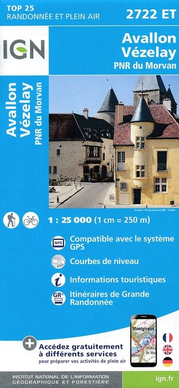 html_entity_decode(2722ET  Avallon, Vézelay | wandelkaart 1:25.000) 9782758538868  IGN TOP 25  Wandelkaarten