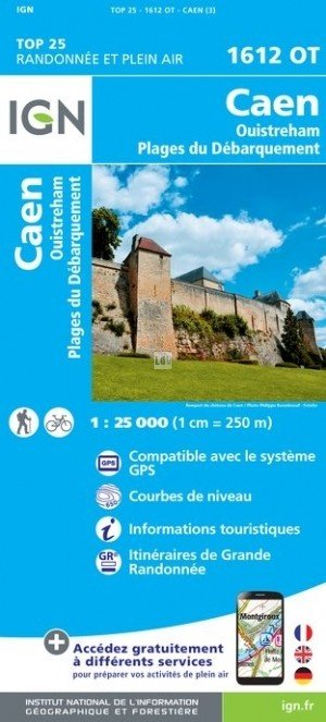 1612OT  Caen, Ouistreham | wandelkaart 1:25.000 9782758539117  IGN TOP 25 (1:25.000)  Wandelkaarten Normandië