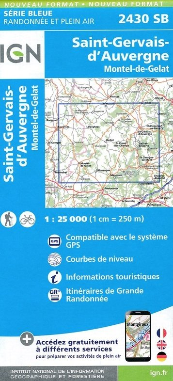 SB-2430SB St-Gervais d'Auvergne | wandelkaart 1:25.000 9782758539223  IGN Serie Bleue (vernieuwd)  Wandelkaarten Auvergne, Cantal, Forez