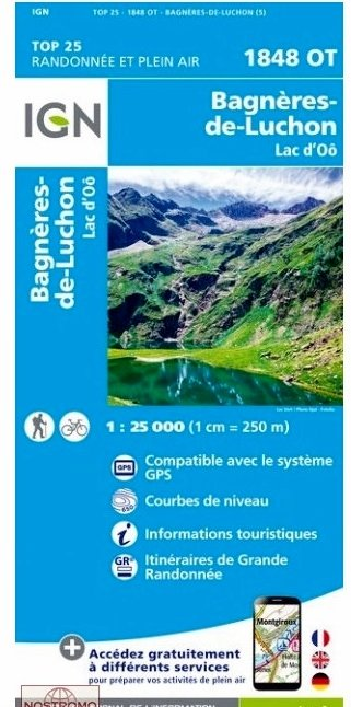 1848OT  Bagnères de Luchon | wandelkaart 1:25.000 9782758539520  IGN TOP 25  Wandelkaarten Franse Pyreneeën, Toulouse, Gers, Garonne