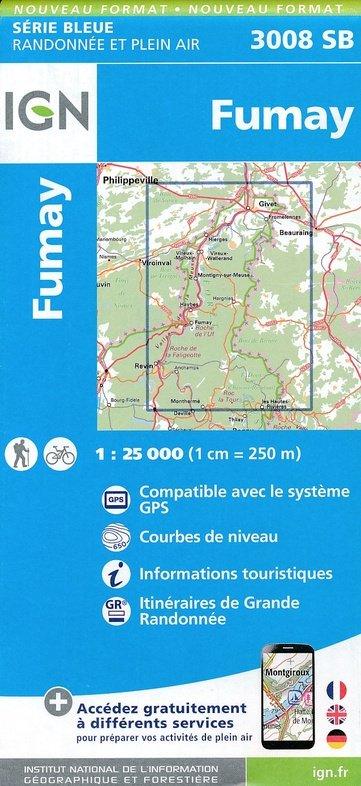 SB-3008SB Fumay, Monthermé  | wandelkaart 1:25.000 9782758539650  IGN Serie Bleue (vernieuwd)  Wandelkaarten Champagne, Franse Ardennen