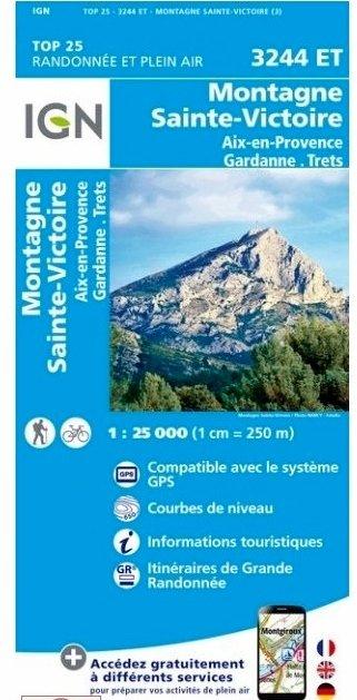 3244ET  Montagne Ste.Victoire/ Aix-en-Provence | wandelkaart 1:25.000 9782758539834  IGN TOP 25 (1:25.000) Wandelkaarten Provence  Wandelkaarten tussen Valence, Briançon, Camargue en Nice