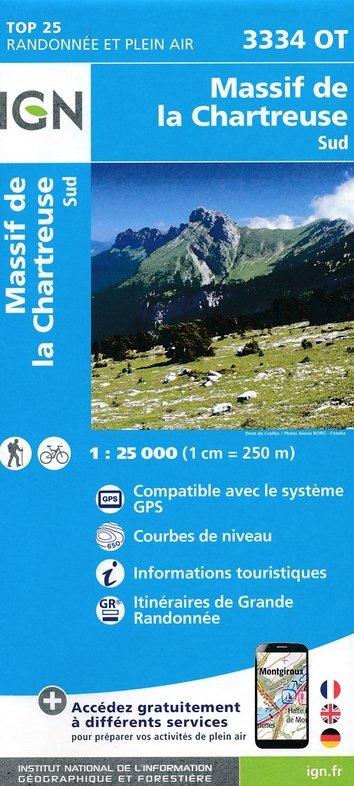 3334OT  Chartreuse Sud | wandelkaart 1:25.000 9782758539889  IGN TOP 25  Wandelkaarten Chartreuse, Bauges, Vanoise