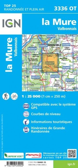 3336OT  La Mure,Valbonnais | wandelkaart 1:25.000 9782758539902  IGN TOP 25  Wandelkaarten Écrins, Queyras