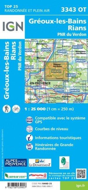 3343OT  Gréoux, Rians, Bas-Verdon | wandelkaart 1:25.000 9782758539957  IGN TOP 25  Wandelkaarten tussen Valence, Briançon, Camargue en Nice
