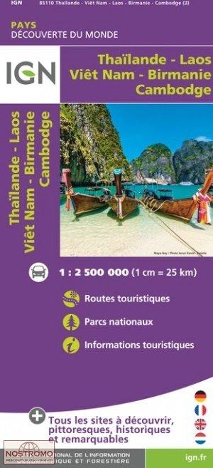 Thailand/ Vietnam / Laos / Cambodja 1:2.000.000 9782758540328  IGN   Landkaarten en wegenkaarten Zuid-Oost Azië