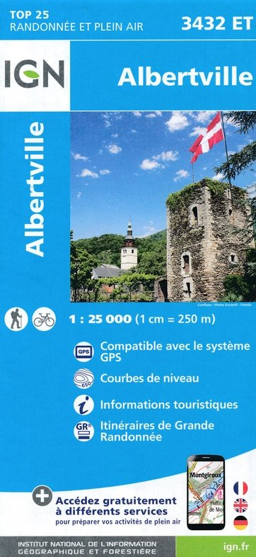 3432ET  omgeving Albertville   wandelkaart 1:25.000 9782758540649  IGN TOP 25  Wandelkaarten Haute Savoie, Mont Blanc