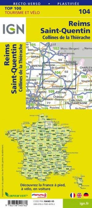 SV-104  Reims, St-Quentin 9782758540762  IGN Série Verte 1:100.000  Fietskaarten, Landkaarten en wegenkaarten Champagne, Franse Ardennen