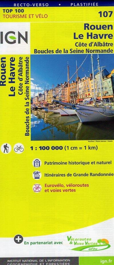 SV-107  Rouen, Le Havre 9782758540786  IGN Série Verte 1:100.000  Fietskaarten, Landkaarten en wegenkaarten Normandië