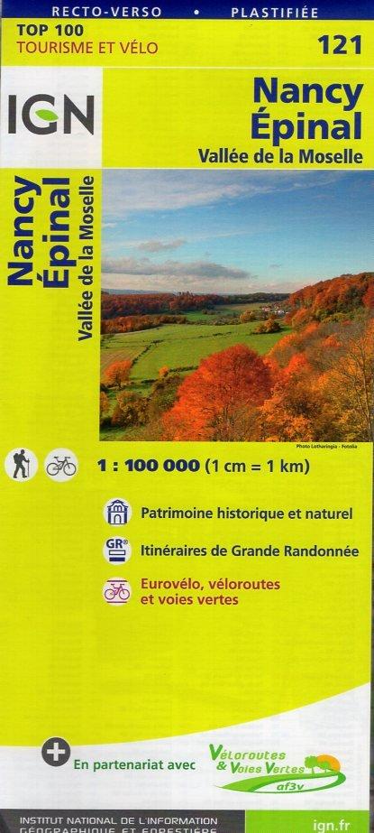 SV-121  Nancy, Épinal 9782758540809  IGN Série Verte 1:100.000  Fietskaarten, Landkaarten en wegenkaarten Lotharingen, Nancy, Metz