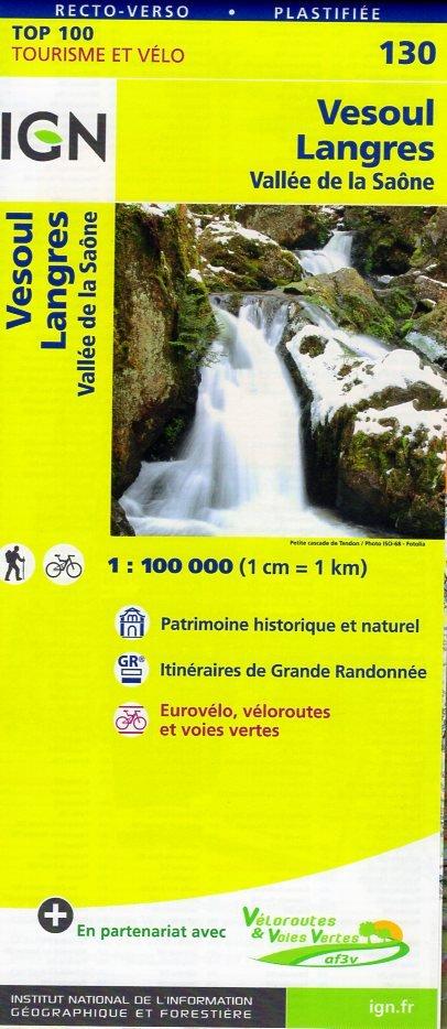 SV-130  Vesoul, Langres 9782758540823  IGN Série Verte 1:100.000  Fietskaarten, Landkaarten en wegenkaarten Lotharingen, Nancy, Metz