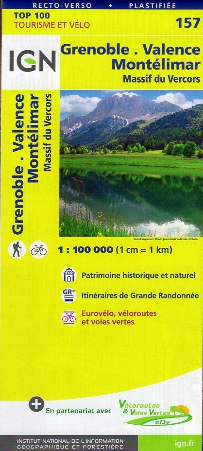 SV-157  Grenoble, Montélimar | omgevingskaart / fietskaart 1:100.000 9782758540861  IGN Série Verte 1:100.000  Fietskaarten, Landkaarten en wegenkaarten Drôme, Vercors